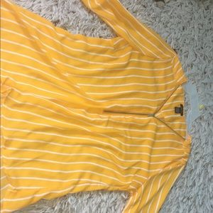 Rue 21 Large yellow and white strip shirt